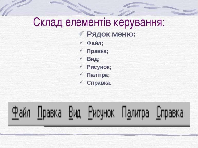 Cклад елементів керування: Рядок меню: Файл; Правка; Вид; Рисунок; Палітра; С...