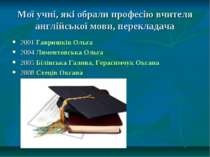 Мої учні, які обрали професію вчителя англійської мови, перекладача 2001 Гавр...