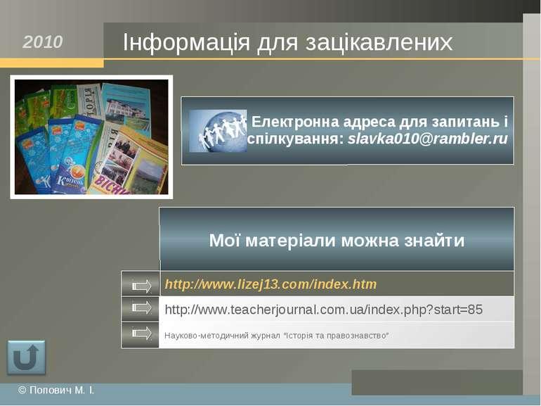 Інформація для зацікавлених © Попович М. І. www.myblog.com 2010