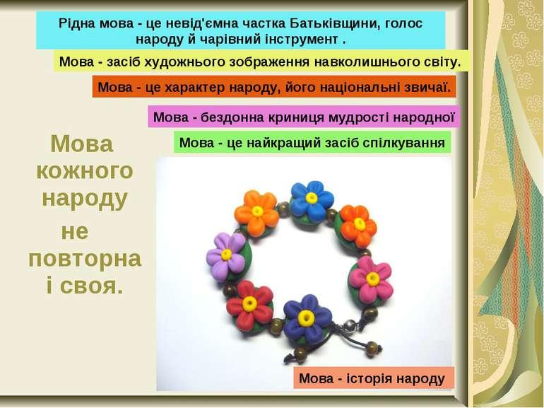 Мова кожного народу не повторна і своя. Рідна мова - це невід'ємна частка Бат...