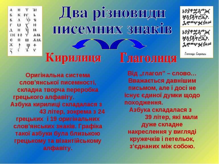 Оригінальна система слов'янської писемності, складна творча переробка грецько...