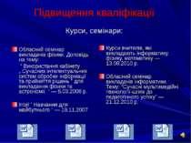 Підвищення кваліфікації Курси, семінари:  Обласний семінар викладачів фізики...
