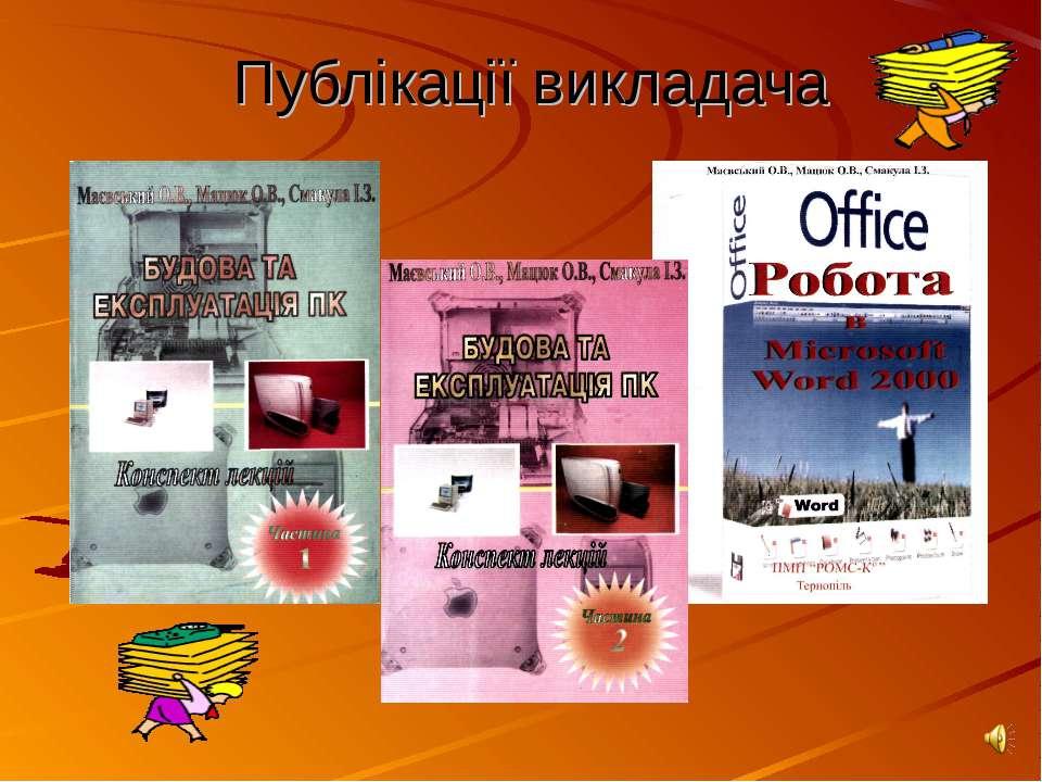 Публікації викладача