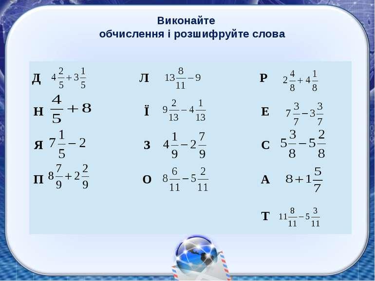 Виконайте обчислення і розшифруйте слова Д Л Р Н Ї Е Я З С П О А Т