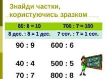 Знайди частки, користуючись зразком 80: 8 = 10 700 : 7 = 100 8 дес. : 8 = 1 д...
