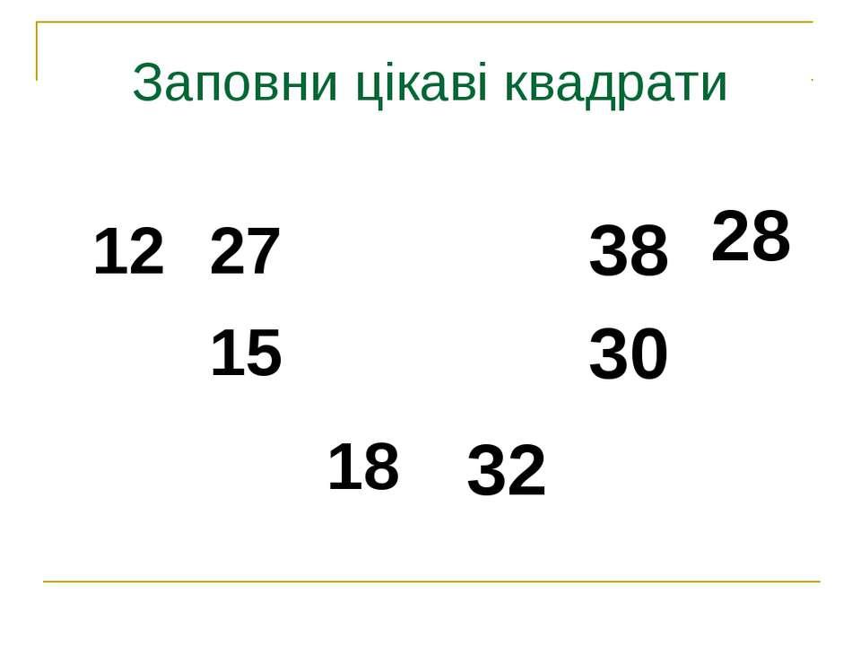 Заповни цікаві квадрати 12 27 15 18 38 28 30 32