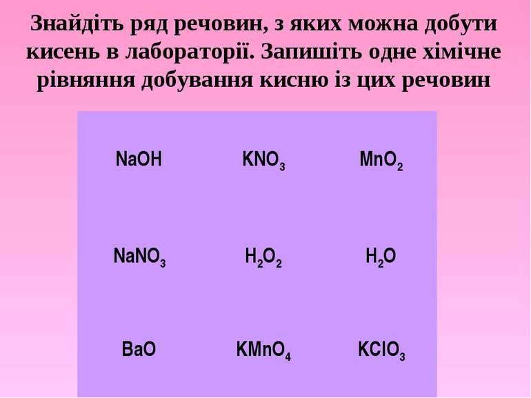 Знайдіть ряд речовин, з яких можна добути кисень в лабораторії. Запишіть одне...