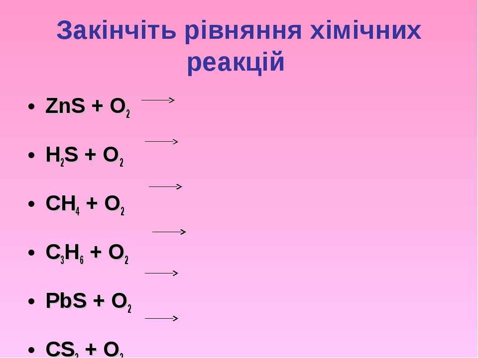 Закінчіть рівняння хімічних реакцій ZnS + O2 H2S + O2 CH4 + O2 C3H6 + O2 PbS ...