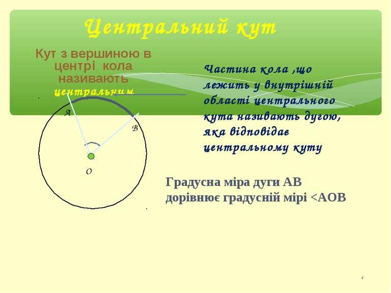 Центральний кут * Кут з вершиною в центрі кола називають центральним Градусна...