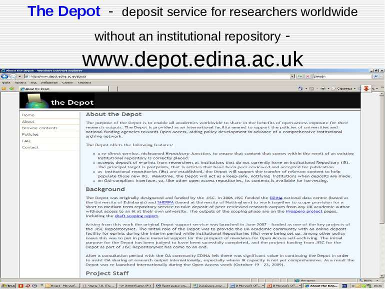 The Depot - deposit service for researchers worldwide without an institutiona...