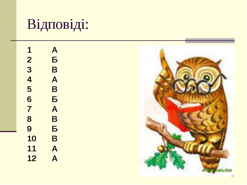 Відповіді: 1 А 2 Б 3 В 4 А 5 В 6 Б 7 А 8 В 9 Б 10 В 11 А 12 А