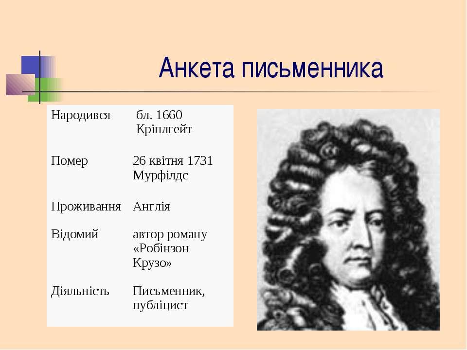 Анкета письменника Народився бл. 1660 Кріплгейт Помер 26 квітня 1731 Мурфілдс...