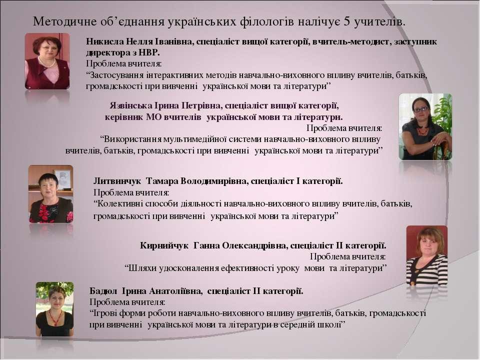 Язвінська Ірина Петрівна, спеціаліст вищої категорії, керівник МО вчителів ук...