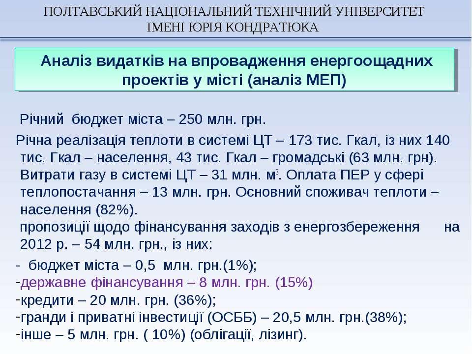 Річний бюджет міста – 250 млн. грн. Річна реалізація теплоти в системі ЦТ – 1...