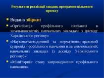 Результати реалізації завдань програмно-цільового проекту Видано збірки: «Орг...