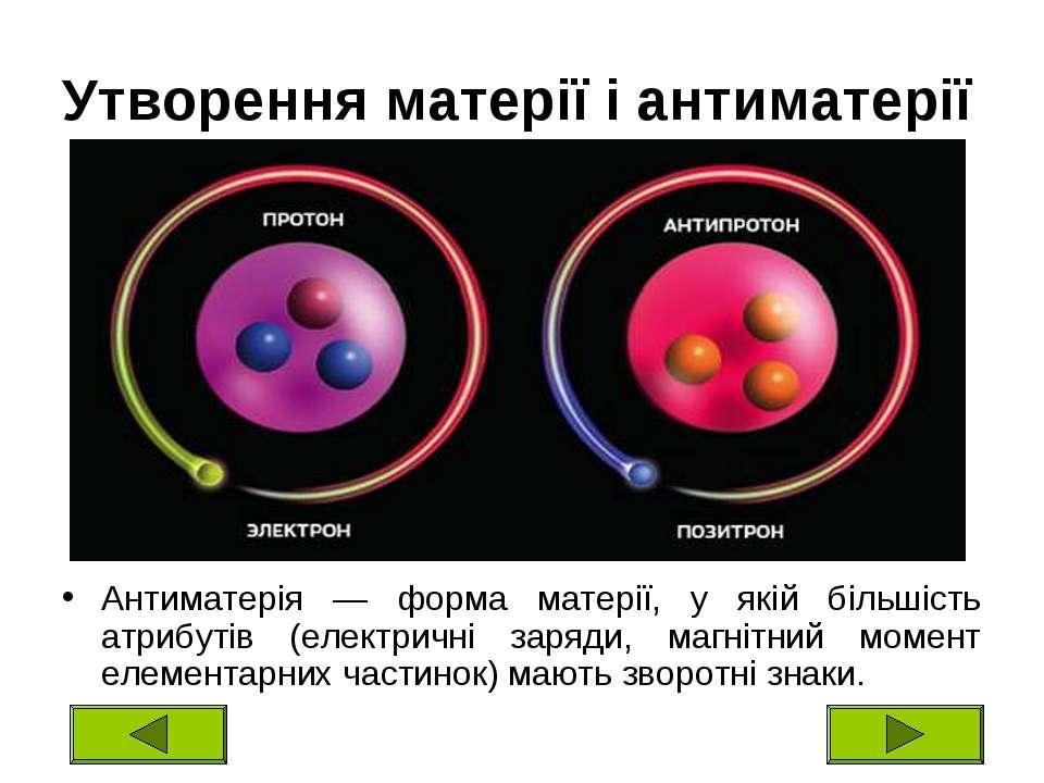 Утворення матерії і антиматерії Антиматерія — форма матерії, у якій більшість...