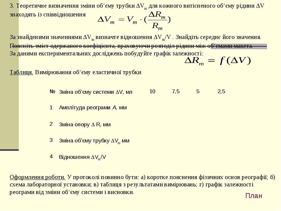 3. Теоретичне визначення зміни об'єму трубки DVm для кожного витісненого об'є...