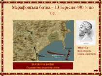 Марафонська битва – 13 вересня 490 р. до н.е. Мільтіад – полководець греків в...