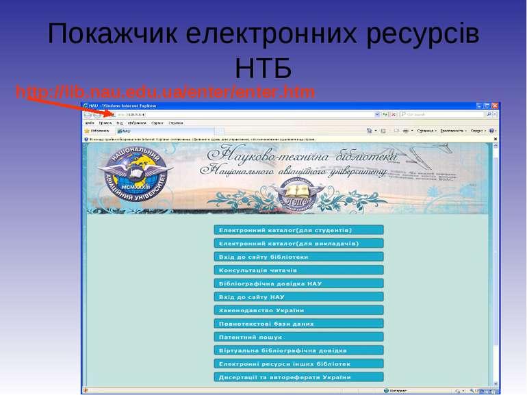Покажчик електронних ресурсів НТБ http://lib.nau.edu.ua/enter/enter.htm