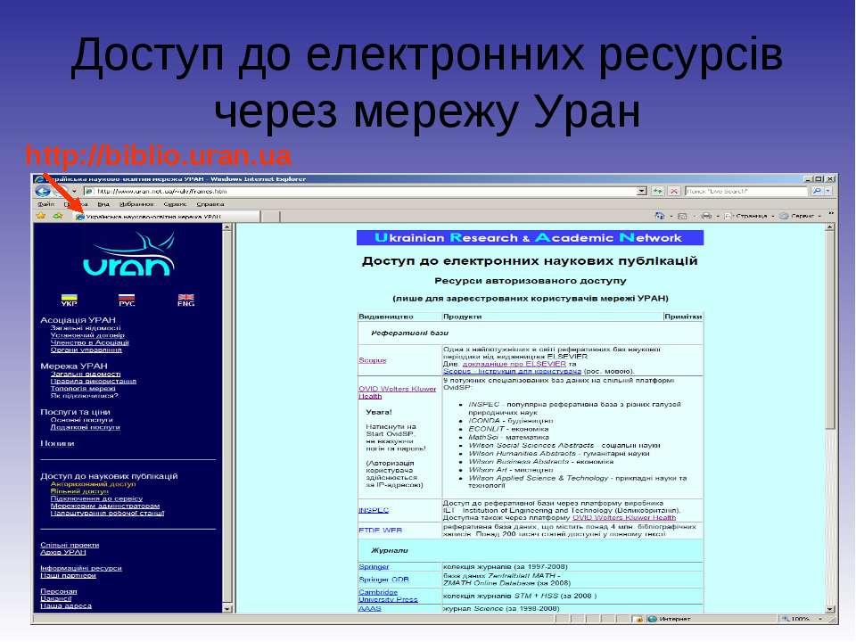 Доступ до електронних ресурсів через мережу Уран http://biblio.uran.ua