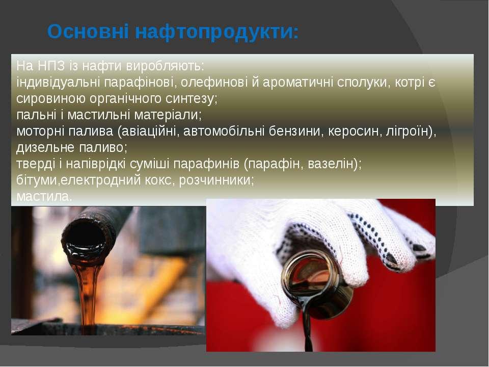 Основні нафтопродукти: На НПЗ із нафти виробляють: індивідуальні парафінові, ...