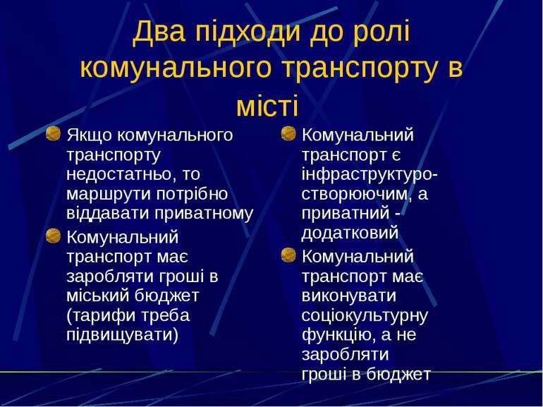 Два підходи до ролі комунального транспорту в місті Якщо комунального транспо...