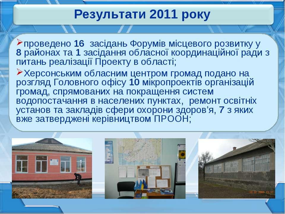 проведено 16 засідань Форумів місцевого розвитку у 8 районах та 1 засідання о...