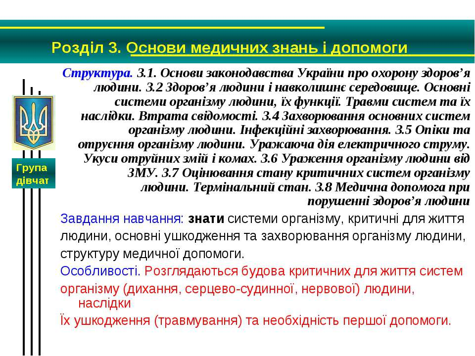 Структура. 3.1. Основи законодавства України про охорону здоров'я людини. 3.2...