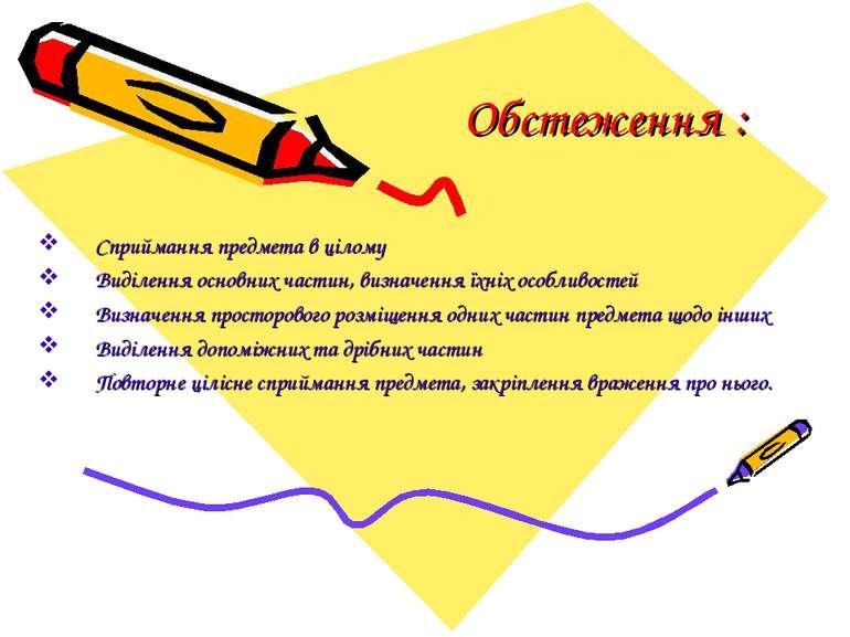 Обстеження : Сприймання предмета в цілому Виділення основних частин, визначен...
