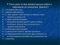 """. Етапи уроку на яких використовується робота з підручником (за технологією """"..."""