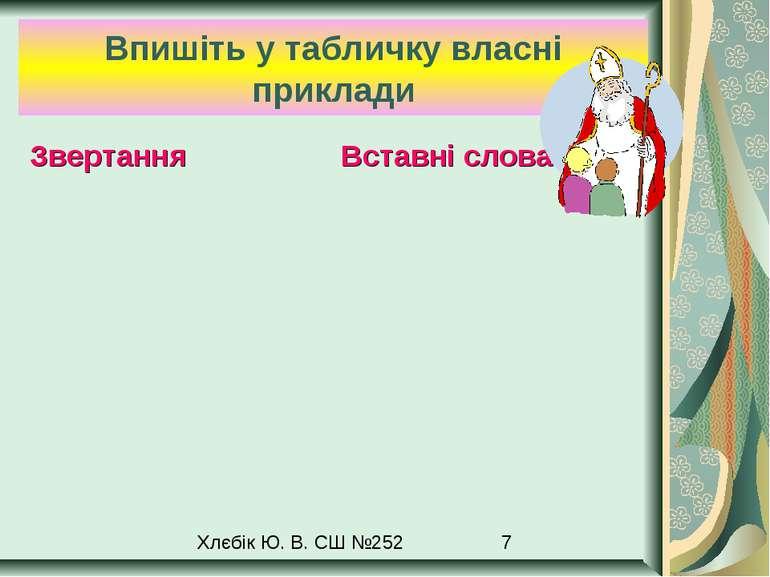 Впишіть у табличку власні приклади Хлєбік Ю. В. СШ №252