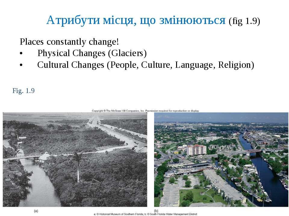 Fig. 1.9 Атрибути місця, що змінюються (fig 1.9) Places constantly change! • ...
