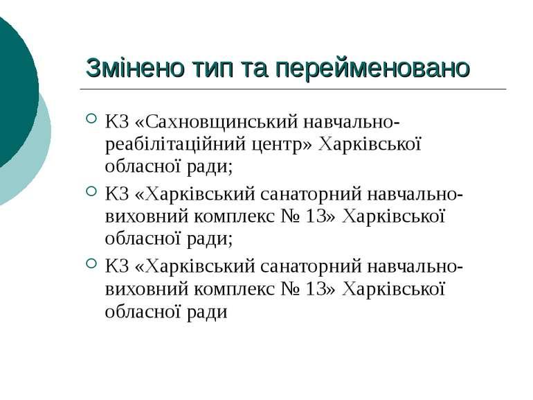 Змінено тип та перейменовано КЗ «Сахновщинський навчально-реабілітаційний цен...