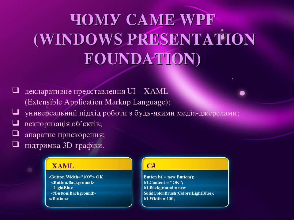 ЧОМУ САМЕ WPF (WINDOWS PRESENTATION FOUNDATION) декларативне представлення UI...