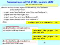 Переналаштування на СУБД MySQL, технологія JDBC