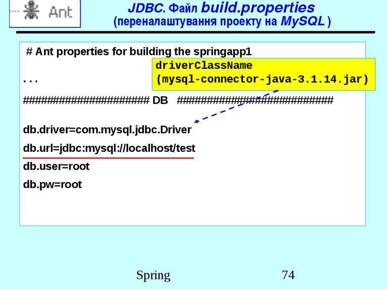 JDBC. Файл build.properties (переналаштування проекту на MySQL ) # Ant proper...