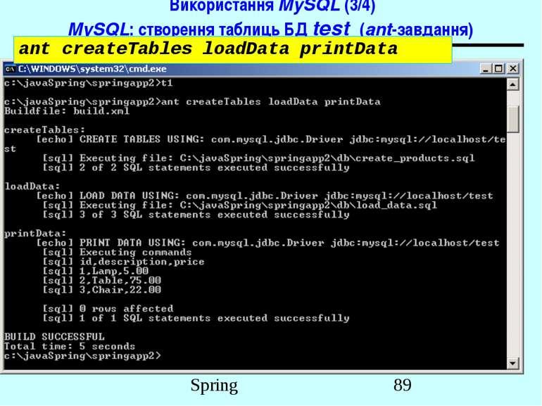 Використання MySQL (3/4) MySQL: створення таблиць БД test (ant-завдання) ant ...