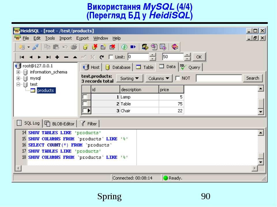 Використання MySQL (4/4) (Перегляд БД у HeidiSQL) Spring