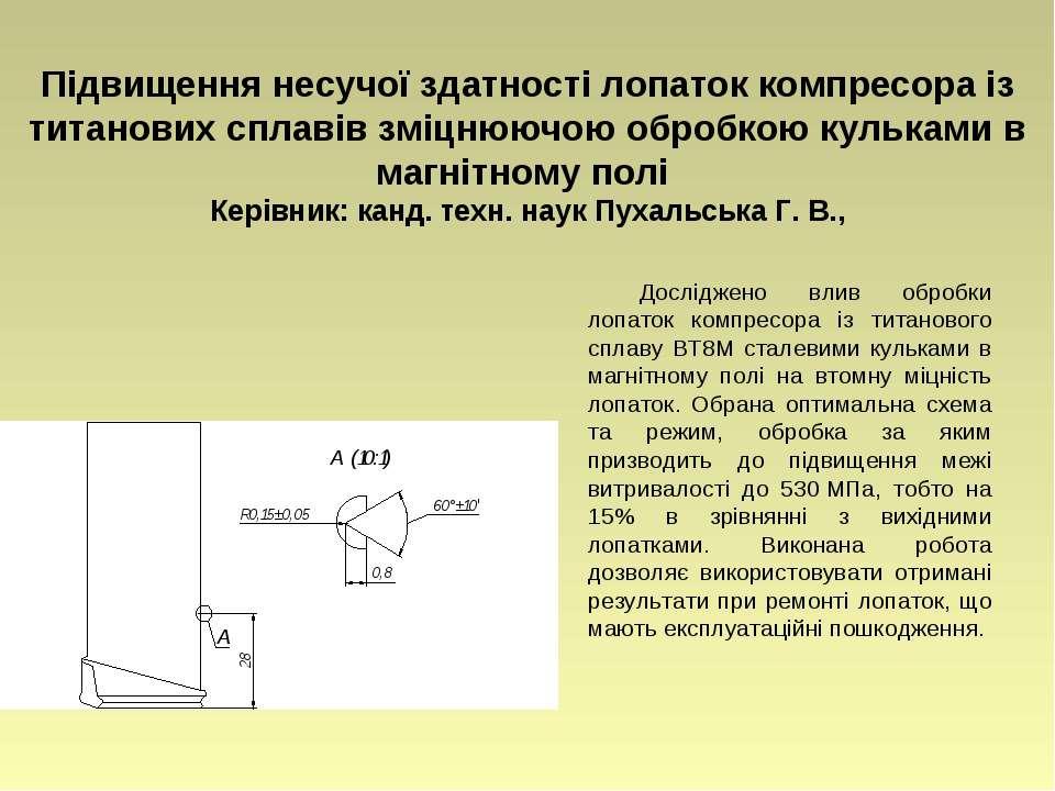 Підвищення несучої здатності лопаток компресора із титанових сплавів зміцнююч...