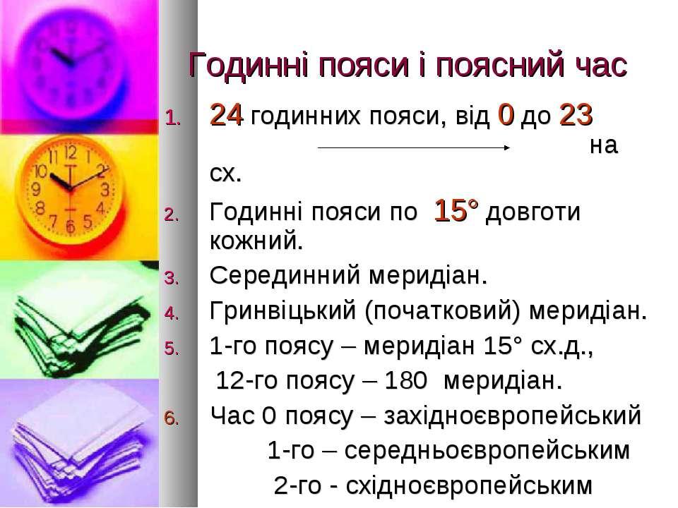 Годинні пояси і поясний час 24 годинних пояси, від 0 до 23 на сх. Годинні поя...