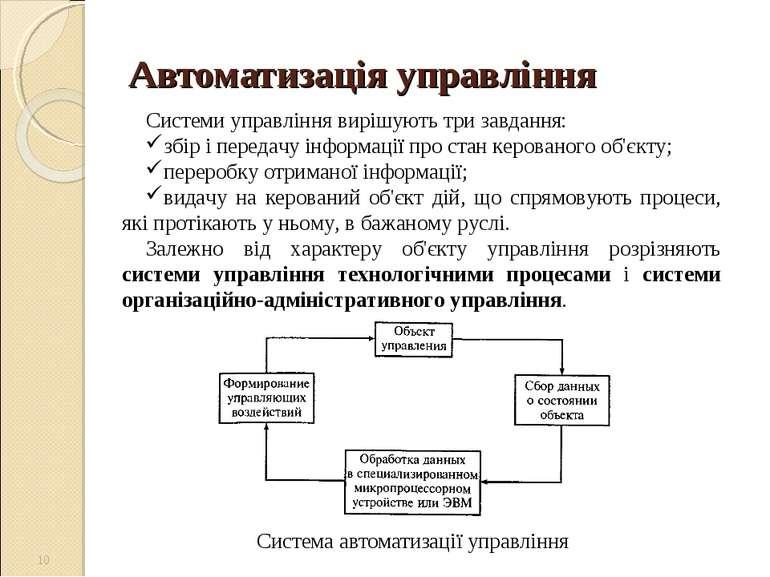 Автоматизація управління Система автоматизації управління * Системи управлінн...