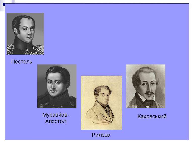 Пестель Муравйов- Апостол Рилєєв Каховський