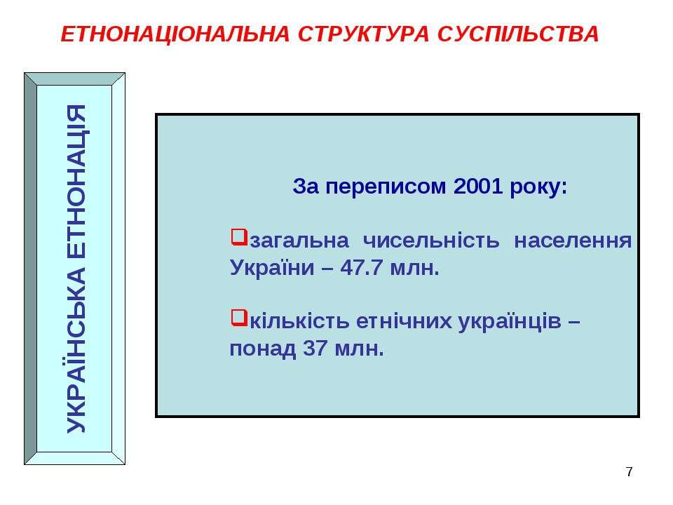 ЕТНОНАЦІОНАЛЬНА СТРУКТУРА СУСПІЛЬСТВА УКРАЇНСЬКА ЕТНОНАЦІЯ За переписом 2001 ...