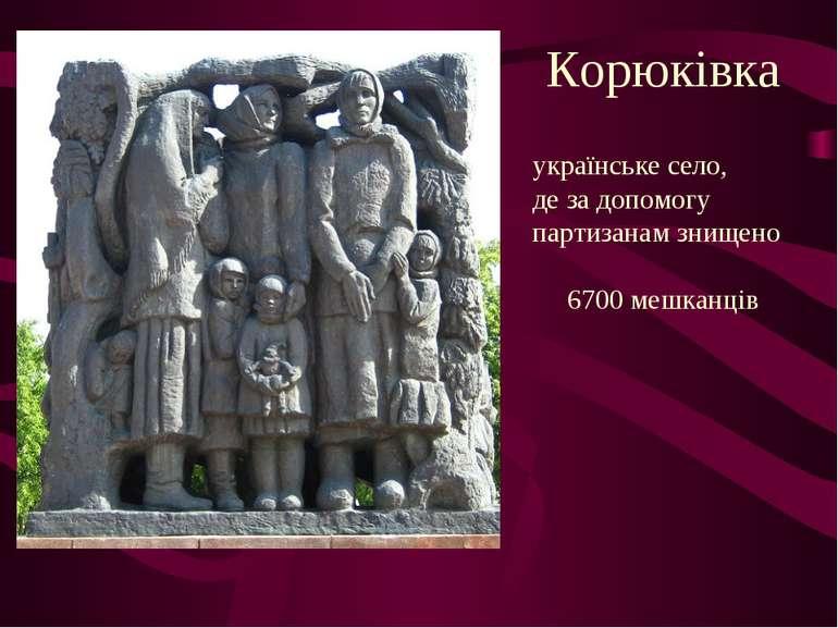 Корюківка українське село, де за допомогу партизанам знищено 6700 мешканців