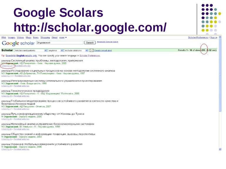 Google Scolars http://scholar.google.com/