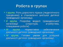 Робота в групах І група. Роль дорослого лідера (педагогічного працівника) в с...