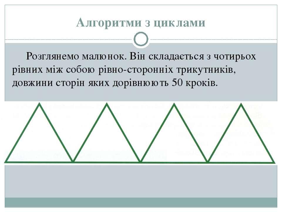 Алгоритми з циклами Розглянемо малюнок. Він складається з чотирьох рівних між...