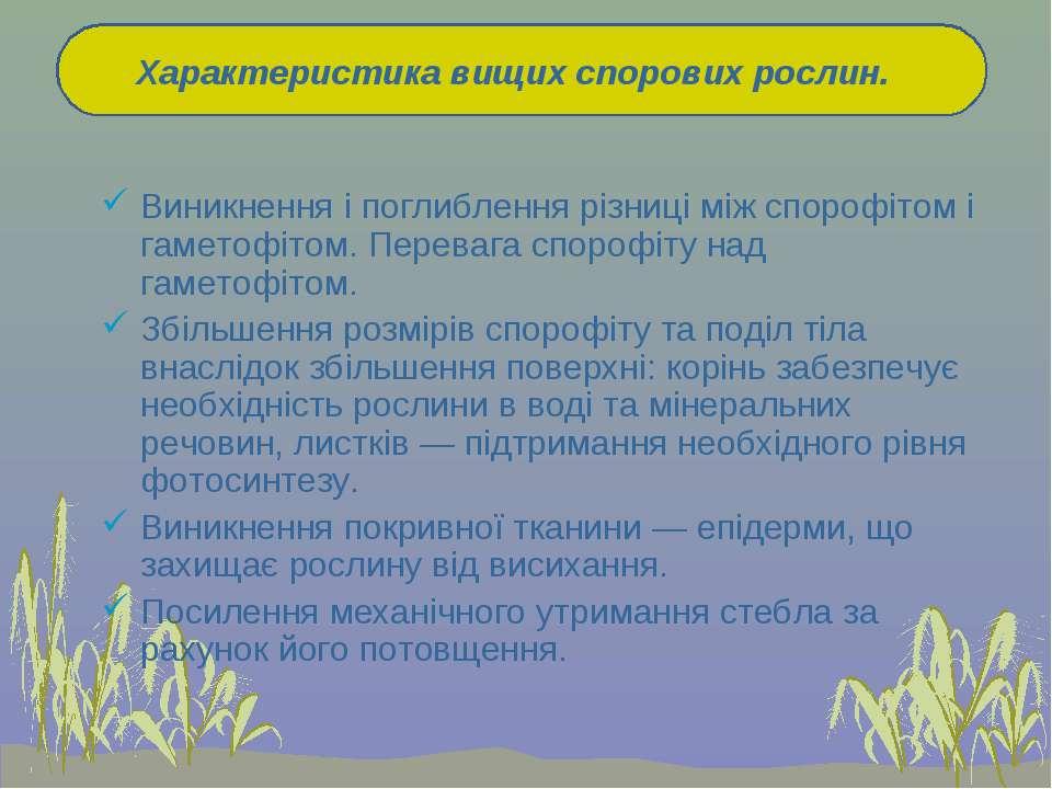 Виникнення і поглиблення різниці між спорофітом і гаметофітом. Перевага споро...