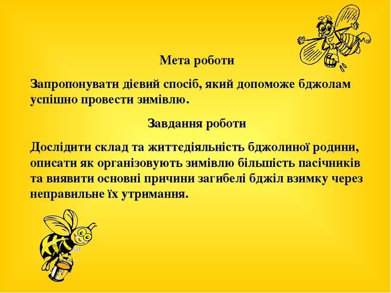 Мета роботи Запропонувати дієвий спосіб, який допоможе бджолам успішно провес...