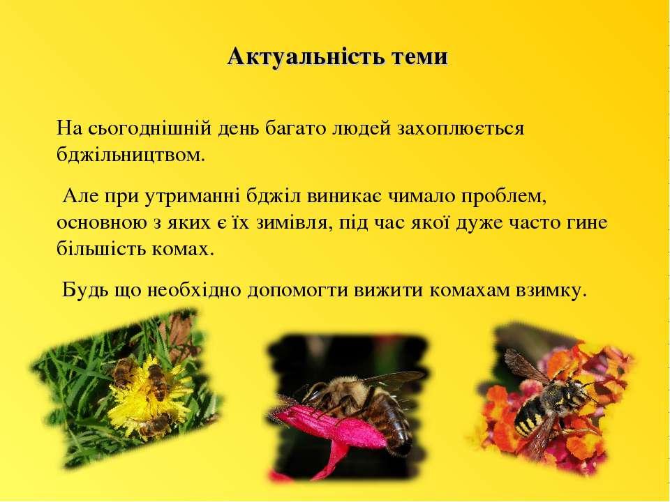 Актуальність теми На сьогоднішній день багато людей захоплюється бджільництво...